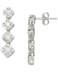 Lord & Taylor - 14kt. White Gold And Diamond Drop Earrings - Lyst