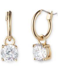Anne Klein - Goldtone Hoop And Cubic Zirconia Drop Earrings - Lyst