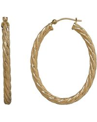 Lord & Taylor - 14k Yellow Gold Twisted Hoops - Lyst