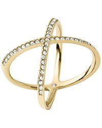 Michael Kors - Brilliance Statement Pavé X Ring/goldtone - Lyst