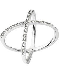 Michael Kors - Crisscross Silver-Tone Encrusted Ring - Lyst