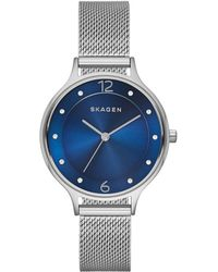 Skagen - Ladies Anita Glitz Stainless Steel Mesh Bracelet Watch - Lyst