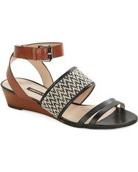 French Connection - Wiley Leather Wedge Sandals - Lyst