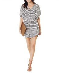 Shirtdress - Silk Twill Stripe Belted - Lyst