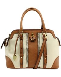 London Fog - Lancaster Vegan Leather Striped Triple Satchel - Lyst