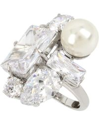 Betsey Johnson - Faux Pearl & Crystal Ring - Lyst