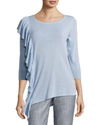 Foxcroft - Ruffled Cotton-blend Jumper - Lyst
