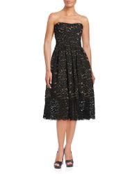 Vera Wang - Strapless Lace Dress - Lyst