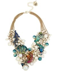 Betsey Johnson - Glitter Reef Mermaid & Sea Shell Shaky Pearl Mesh Necklace - Lyst
