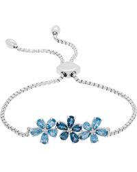 Lord & Taylor - Swiss Blue Topaz, London Blue Topaz, Diamond And Sterling Silver Floral Bracelet - Lyst