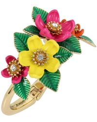 Betsey Johnson - Gold-tone Multicolour Floral Hinged Bangle Bracelet - Lyst