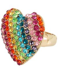 Betsey Johnson - Rainbow Connection Pave Crystal Studded Heart Stretch Ring - Lyst