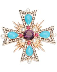 Nadri - Faux Pearl And Stone Accented Cross Pin - Lyst
