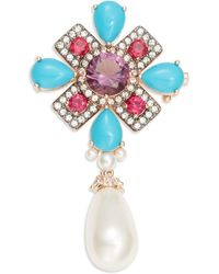 Nadri - Faux Pearl Teardrop And Crystal Accented Pin - Lyst