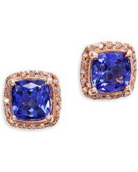 Effy - Tanzanite Royalé Tanzanite, Diamond And 14k Rose Gold Stud Earrings - Lyst