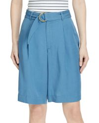 Lauren by Ralph Lauren - Belted Twill Mid-rise Shorts - Lyst