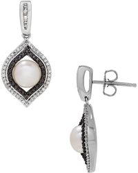 Lord & Taylor - Diamonds, 7mm Button Freshwater Pearl And Sterling Silver Drop Earrings - Lyst