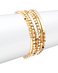 Lord & Taylor - Beaded Multi-row Stack Bracelet - Lyst