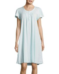 Miss Elaine - Embroidered Ribbed-knit Nightgown - Lyst