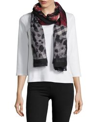Lord & Taylor - Plaid Rose Print Scarf - Lyst