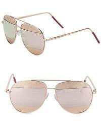 Steve Madden - 64mm Mirrored Aviator Sunglasses - Lyst