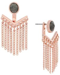 Jessica Simpson - Rose Gold Crystal V Chain Ear Jacket - Lyst