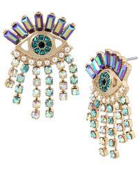 Betsey Johnson - Mystic Baroque Queens Goldtone Fringed Eye Earrings - Lyst
