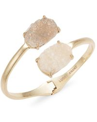 Lucky Brand - Stone-accented Hinged Cuff Bracelet - Lyst