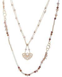 Lonna & Lilly - Semi-precious Stone & Crystal Multi-strands Pendant Necklace - Lyst