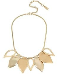 Kenneth Cole - Textured Metals Leaf Frontal Necklace - Lyst