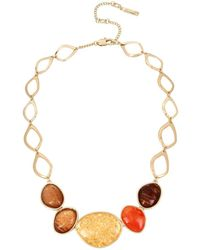 Kenneth Cole - Textured Metals Multicolour Frontal Stone Necklace - Lyst