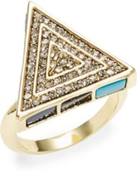 House of Harlow 1960 - Pave Turquoise Triangle Cocktail Ring - Lyst