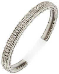 BCBGeneration - Silver-tone Pavé Textured Cuff Bracelet - Lyst