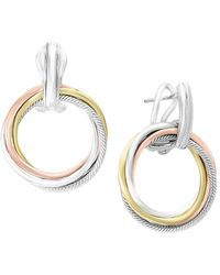 Effy - Sterling Silver Tri-tone Hoop Earrings - Lyst
