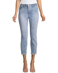Jones New York Kurt Cropped Frayed Jeans - Blue