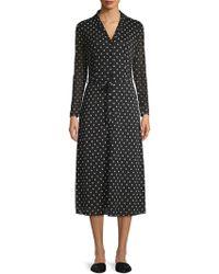 Anne Klein - Dotted Waist-tie Long Sleeve Dress - Lyst