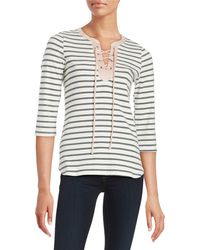 Lord + Taylor Leatherette Trimmed Striped Top - Gray