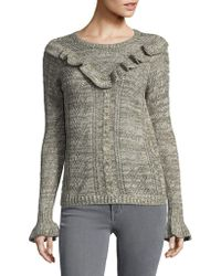 Kensie - Cable??nit Ruffle Sweater - Lyst
