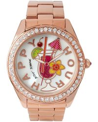 Betsey Johnson - Happy Hour Motif Dial Rose Gold Watch, Bj0024930 - Lyst