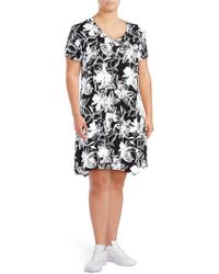 Marc New York - Plus Printed Asymmetric Shift Dress - Lyst