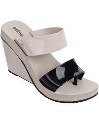 16caf14d287 Lyst - Melissa Open Toe Slide Platform Wedge Sandals - Creative in Black