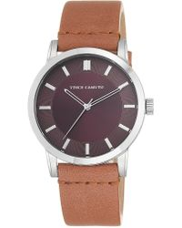 Vince Camuto - Stainless Steel Tan Leather Strap Watch - Lyst