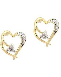 Lord & Taylor - 14 Kt. Yellow Gold Heart Earrings With Diamond Accents - Lyst