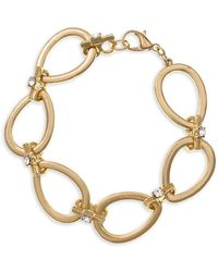Laundry by Shelli Segal - Pacific Blues Goldtone & Crystal Oval Link Bracelet - Lyst