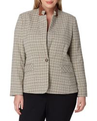 Tahari - Turn-up Collar Glen Plaid Jacket - Lyst