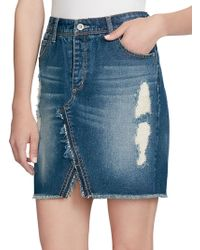 Jessica Simpson - Fray-trimmed Denim Skirt - Lyst