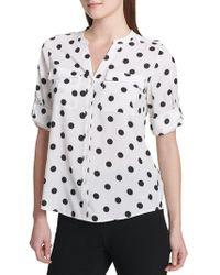 Calvin Klein - Printed Roll-sleeve Button-down Shirt - Lyst