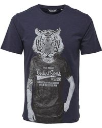 Only & Sons - Printed Cotton Tee - Lyst