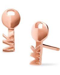 Michael Kors - Custom Kors 14k Rose-goldplated Logo Key Stud Earrings - Lyst