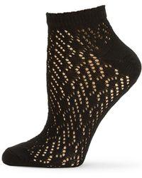 Hue Geo Net Anklet Socks